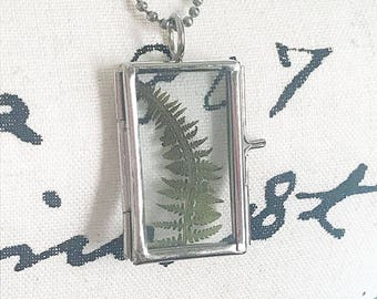 Pressed Flower Fern Glass Locket Necklace / Rectangle Glass Locket Necklace / Pressed Flowers / Pressed Fern