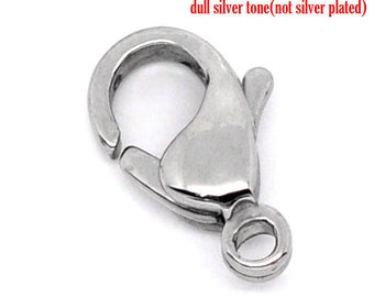 50 Lobster Clasps - 304 Stainless Steel - 12x7mm - Silver Tone - Ships IMMEDIATELY  from California - FC184a