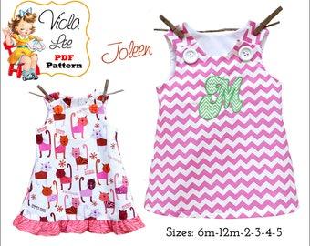 Joleen, Girl's Dress Sewing Pattern, A line Dress Pattern, pdf Pattern, Jumper Pattern, Toddler Dress Pattern, Aline Dress, Girl's Dresses
