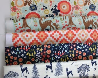 Woodland Fabric by Riley Blake Fabrics fat quarter bundle of nine fat quarters, quilter's cottons, Deer, Floral and geometric prints