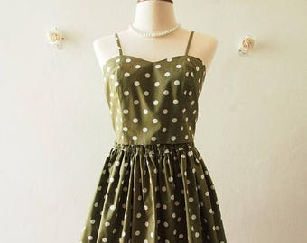 Mid Year SALE Crop Top and Skirt Set Dark Olive Green white Polka Dot Backless Style BAck Tie Bow and Skirt - Size S-M (US4-US8)