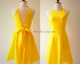 La La Land Yellow Dress Vintage Inspired Dress Yellow Summer Dress Sexy Bridesmaid Dress Yellow Party Prom Dress Backless Dress Cross Rope