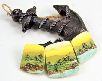 StudioStJames-Artisan Crafted Clay 3 Piece Graduated Statement Focal Beads-Seascape-Coastal Beach, Nautical-Yellow Aqua Green-PA 100743