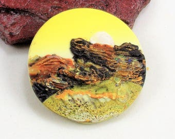 StudioStJames-Artisan Crafted Polymer Clay 34mm Focal Pendant or Cabochon-Mountainscape-Rustic Mountain Scene--Yellow Brown-PA 100750