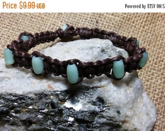Etsy On Sale Cats Eye Bracelet, Nine Light Green Cats Eye Beads Wrap Around This Handsome Bracelet, 8.5in, Brown Waxed Cotton Cord,Bead And