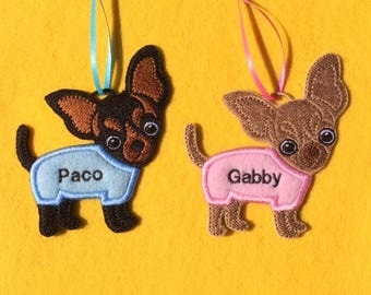Personalized Chihuahua Dog Ornament or Gift Tag