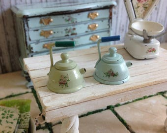 Dollhouse Miniature Shabby Chic Vintage Style Tea Kettle with Roses Motif
