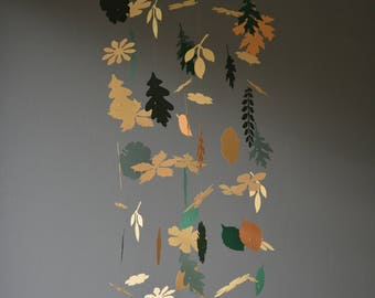 Flowers and leaves nursery mobile or baby mobile from ochre, light rusty brown and green shades card stock - Handmade, Paper flowers nursery