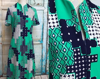 60s Bold Print Poly Puritan Forever Young Mod Dress Blue Green Large