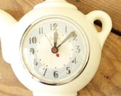 Vintage Clock Non-Working Electric Wall Clock Teapot Coffee Pot Kitchen Clock Wall Hanging Sessions Clock Company Display Wall Hanging