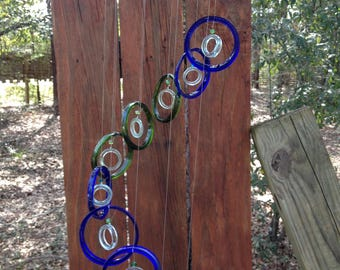 blue, dark green, GLASS WINDCHIMES from RECYCLED bottles,  windchime,  garden decor, wind chimes