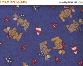 ON SALE Bear Fabric, Bears Patriotic Fabric, Blue Fabric, 1 yard Fabric