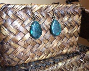 Moss Agate Stone Teardrop Earrings