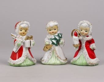 Trio of Christmas Angels, Angel Christmas Bells, Lefton made in Japan