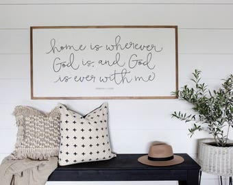 Home Is Wherever God Is- Rebekah Lyons Signature Series - Wood Sign