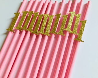"""12 Paper Straws with Age 1   Glitter   7 3/4"""""""