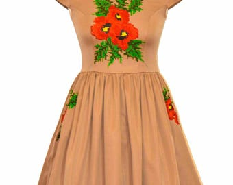 Christmas Embroidery Dress, Urban Flower Dress , Bohemian Embroidery Dress , Folk Poppy flower Dress , Statement Dress , Custom made dress