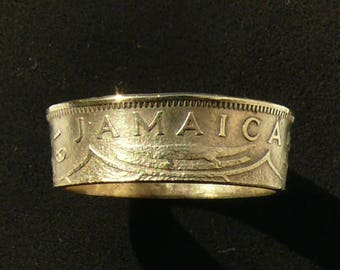 Mens Brass Coin Ring 1955 Jamaica 1 Penny, Ring Size 10 1/2 and Double Sided