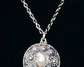 "Natural Pearl Pendant & Chain Signed 925 Sterling Silver Cannetille Judaica Jewelry 18"" Vintage"