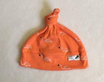 Orange Flamingo Knotted Baby Hat