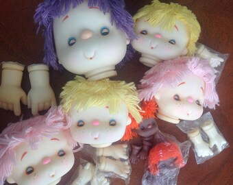 Plastic Doll Heads and Hands, Lot of 7 doll Crafting Heads, Doll Parts