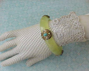 Lovely Bangle Bracelet of Pale Green Plastic with Jeweled Metal Decorations