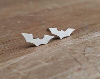 Batman Inspired Tiny Sterling Silver Stud Earrings - Geek, Superhero, Comics, DC