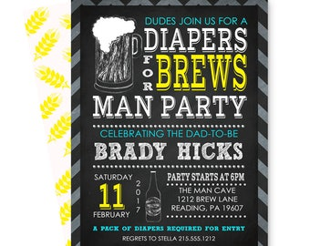 Diaper & Brews Mans Shower Invitation - Dadchelor Party - Baby Beer Invites - Coed Babyq Shower - Chalkboard - Printable or Printing Custom