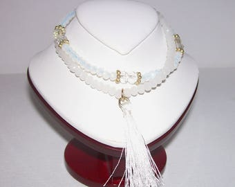 black or white crystal stretch bracelet with tassel, 4 mm crystals, #B1126