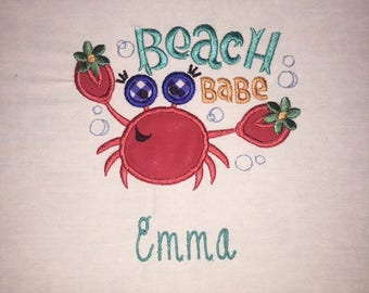 Youth Beach Babe Crab Short or Long Sleeve White Shirt with Embroidered Personalized Name