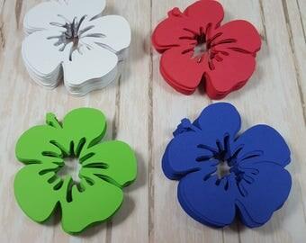 Hibiscus scrapbook flowers, Die cut flowers, Bright colors, Hawaiian flowers, Tropical flowers