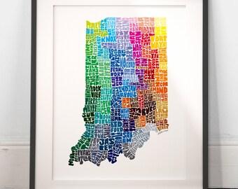 Indiana City Typography Map Print, Indiana wall decor, Indiana typography map art