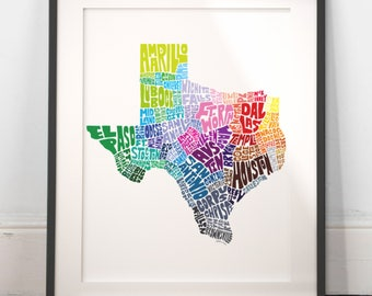 Texas City Typography Map Print, Texas wall decor, Texas typography