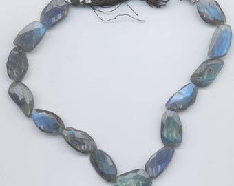 Strand of 17 nugget-shaped labradorite faceted beads - lots of blue fire - 23-25 mm x 16-18 mm mm x 18 mm