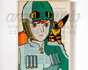 Nausicaä of the Valley of the Wind Original Artwork Print on an Unframed Upcycled Bookpage
