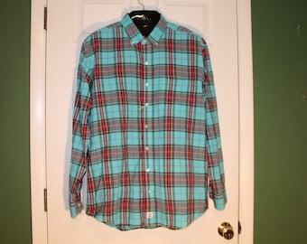 90s Original LOW COUNTRY Charleston Sc Indian MADRAS Plaid Shirt Robins Egg Aqua Blue