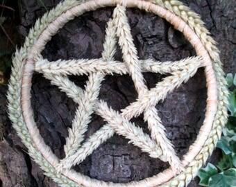 Pagan Wiccan Lammas Celtic Wheat Altar Pentacle  Wreath. Handfasting Gift.  Abundance. Home Blessing.