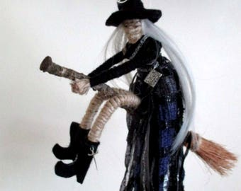 Handmade Positively Pagan Wiccan Hecate Witch Crone Poppet Doll On Besom Broom   Kitchen Witch.