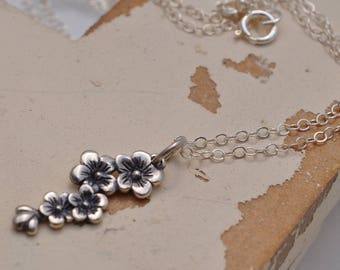 delicate cherry blossom sterling silver necklace, Spring cherry blossom necklace, delicate sterling silver cherry blossom necklace, Sakura