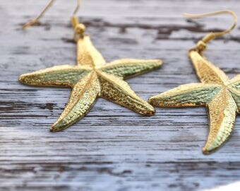 starfish earrings, golden starfish earrings, beachcomber earrings, usa earrings, gold plated earrings, shiny golden starfish earrings