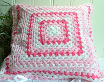 Crochet granny cushion cover, handmade Swedish afghan , pink and cerise, cover only , 15 ""