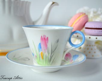 Shelley Art Deco Teacup And Saucer Set With Blue Trim And Tulips, English Bone China Tea Cup, Wedding Gift, Fluted Teacup,  ca. 1945-1966