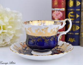 Royal Albert Cobalt Blue Regal Teacup And Saucer, English Bone China Tea Cup Set, Replacement China, Wedding Gift, Tea Party, ca. 1970-1980