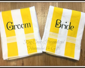 Personalized Bride and Groom Beach Towels, Honeymoon Towels, Couples Towels,  Couples Gifts, Anniversary Gift, Mr and Mrs Beach Towels