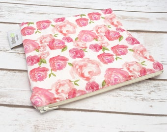 Reusable Snack Bag ~ Sandwich Size ~ Reusable Lunch Bag ~ Eco Friendly ~ Water Resistant ~ Zipper Pouch in Watercolor Roses