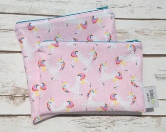 Reusable Snack Bag ~ Zippered Pouch ~ Favor Bag ~ Goody Bag ~ Eco Friendly in Unicorns Pink