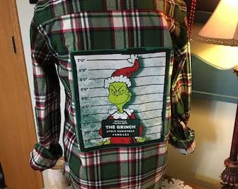 Upcycled Christmas Flannel Shirt, Embellished Flannel Shirt with Recycled T-Shirt Back Patch, Grinch Christmas Shirt