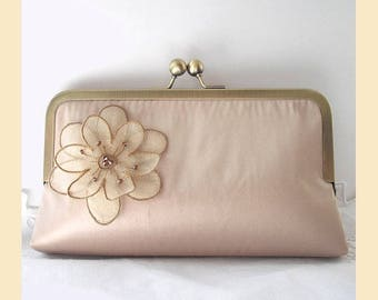 Wedding clutch bag in taupe silk with floral organza corsage and Swarovski crystals, handmade bridal purse, optional personalisation