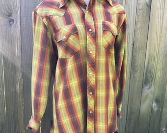 Vintage 1940s Long Sleeve Gabardine Flannel Shirt in Autumnal Hues: Women's Medium / Men's Small