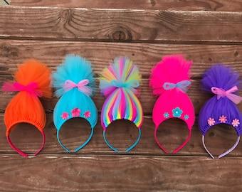 Trolls Hair Headband Poppy Headband Poppy Troll Headband Wig Pink Tulle Headband Headband Rainbow Troll Hair Troll Costume Troll Wig